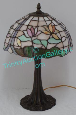 Dale Tiffany Signed Stained Glass Table Lamp Signature