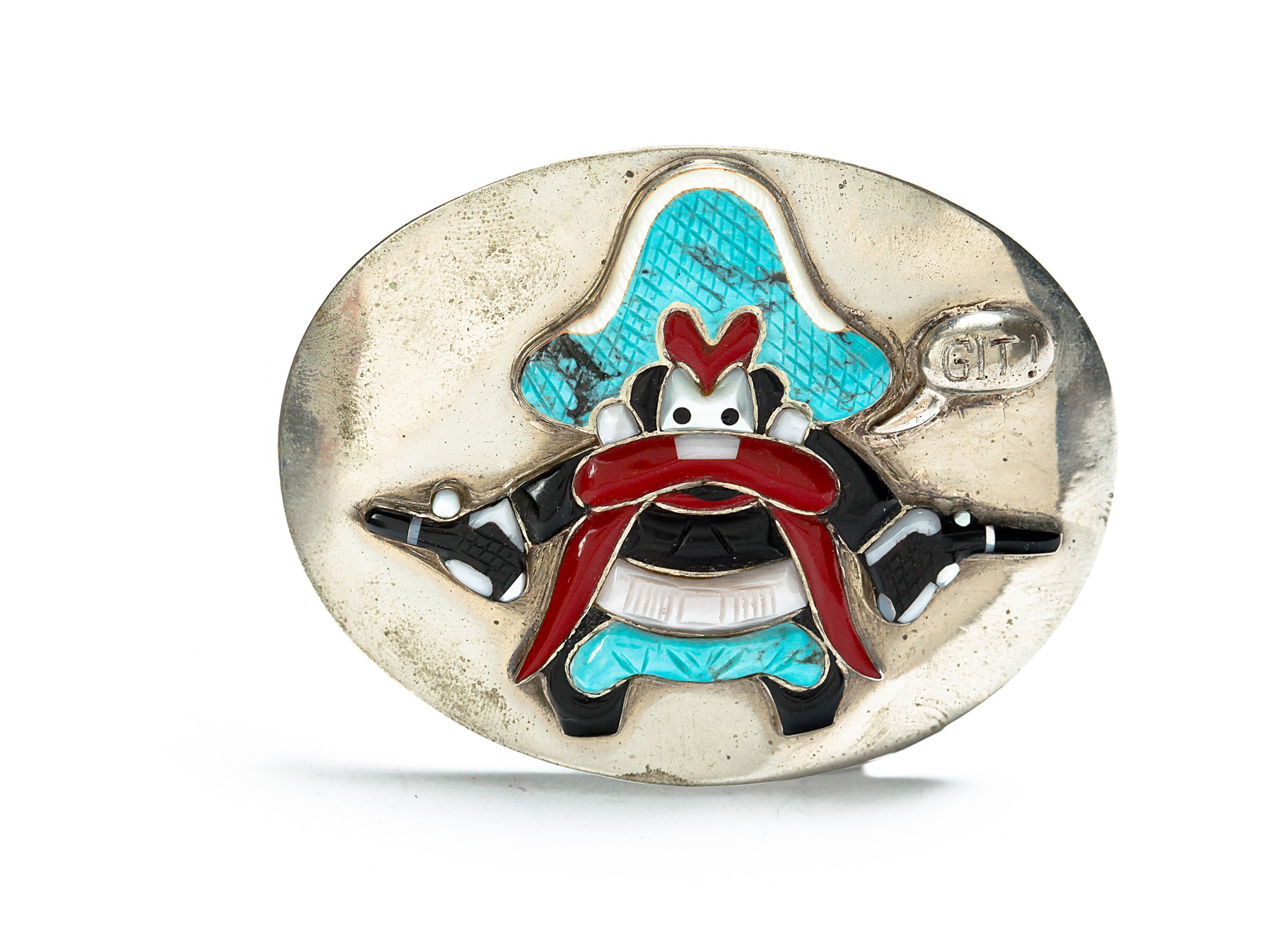 ZUNI INLAID CHARACTER BUCKLE BY CAROL KEE