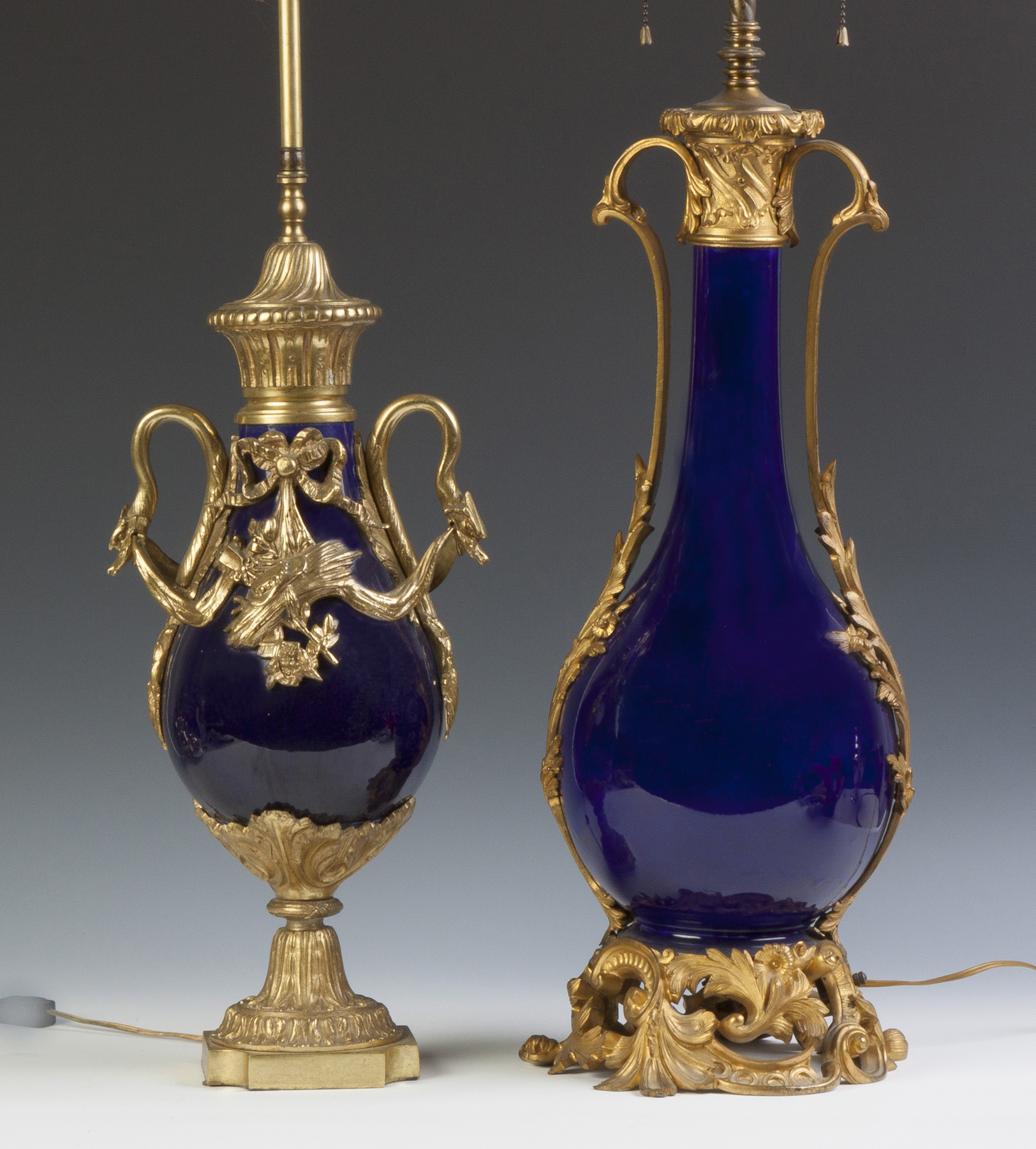 Two Cobalt French Lamp Bases  19th cent.