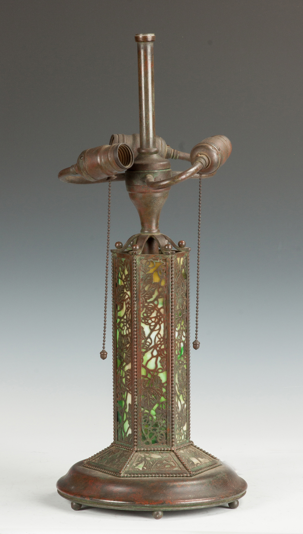 Patinated Bronze & Glass Lamp Base  Early