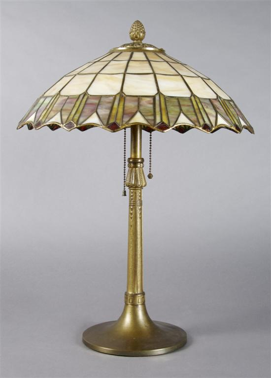 An American Leaded Glass Lamp, Height 21