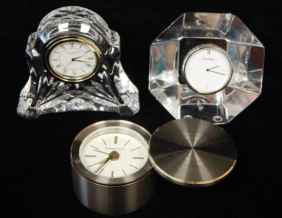 Three small clocks by Tiffany & Co., Orrefors,