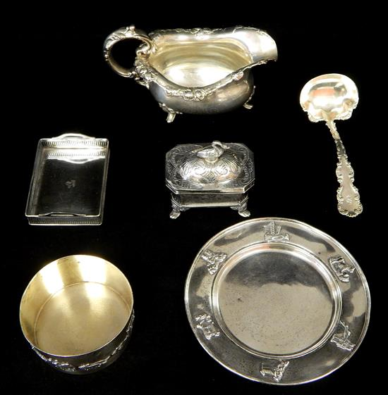 SILVER, four pieces sterling, one piece 800,