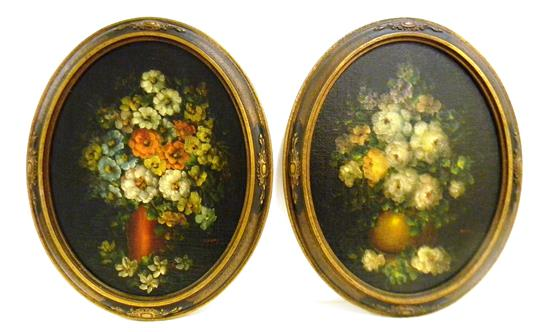 Pair of Victorian style oval still life paintings,