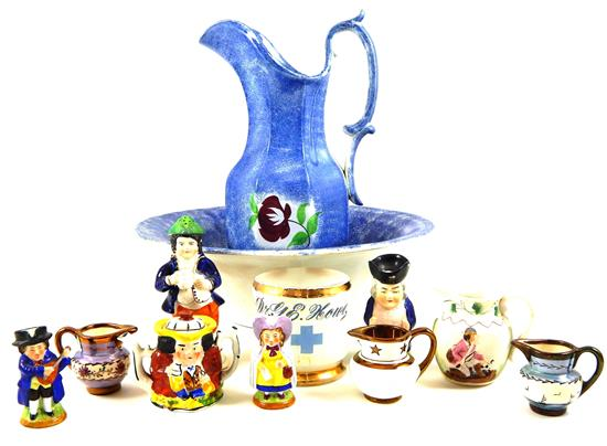 19th/20th C. glass and porcelain bric-a-brac