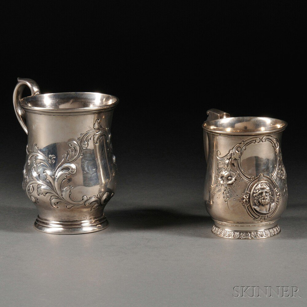 Two American Silver Mugs, New York, mid-19th