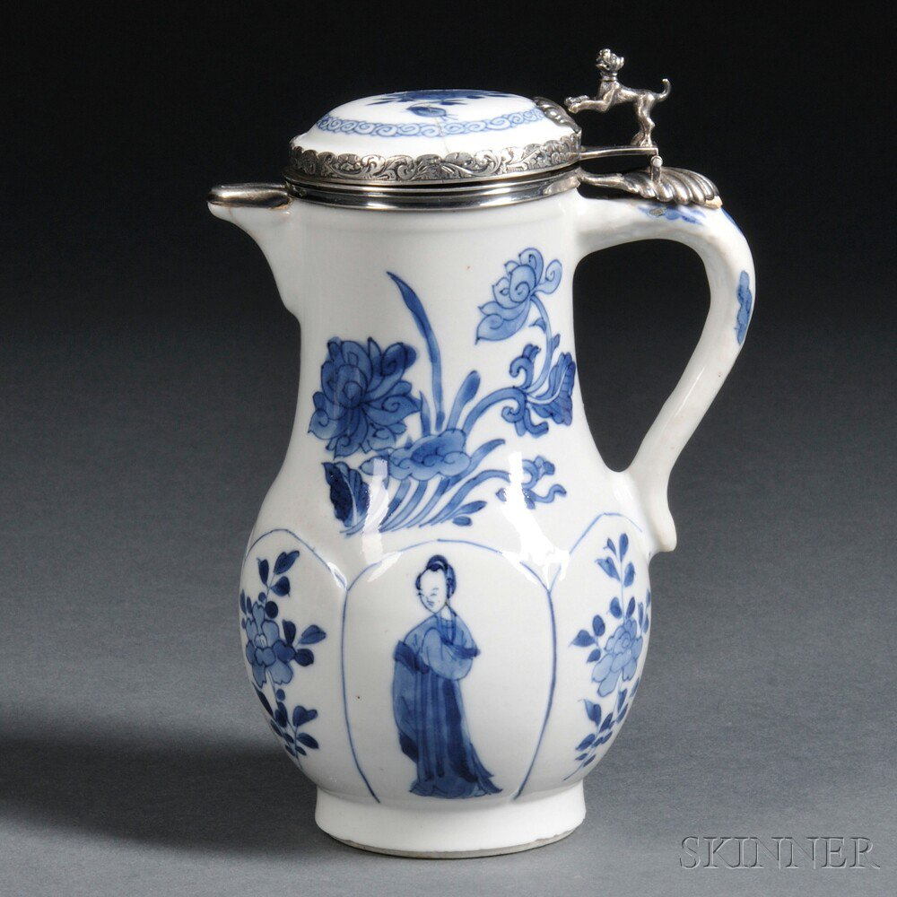 Silver-mounted Blue and White Hot-milk Covered