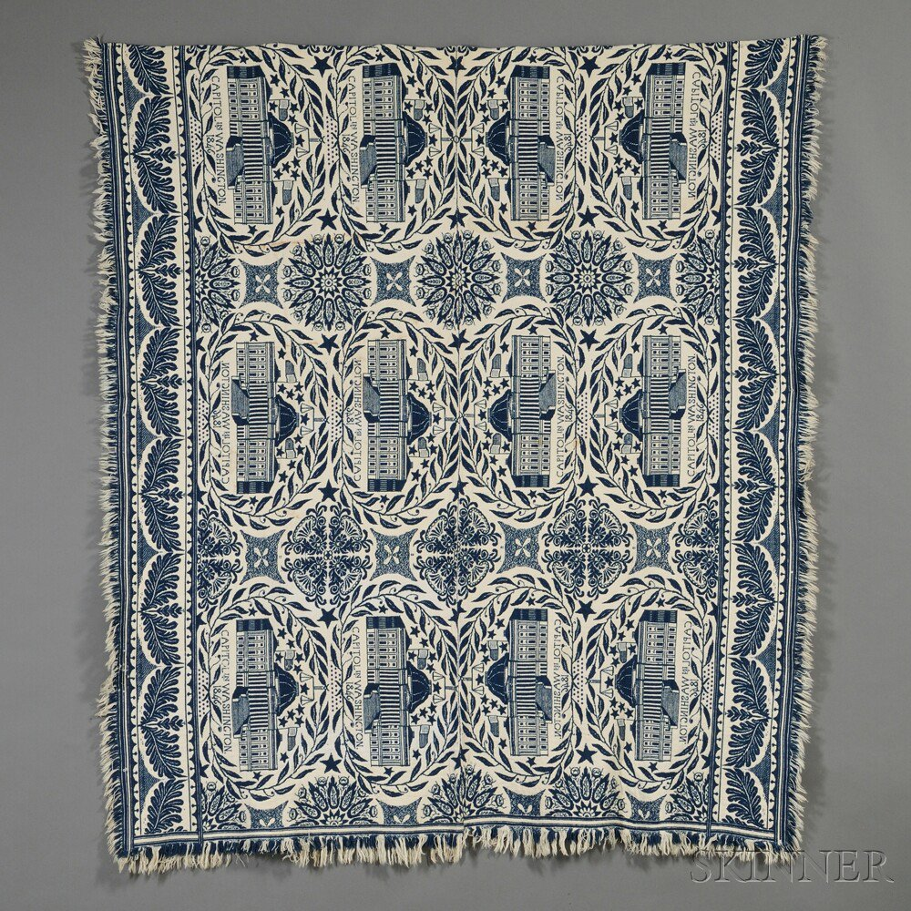 Woven Wool and Cotton Coverlet Depicting