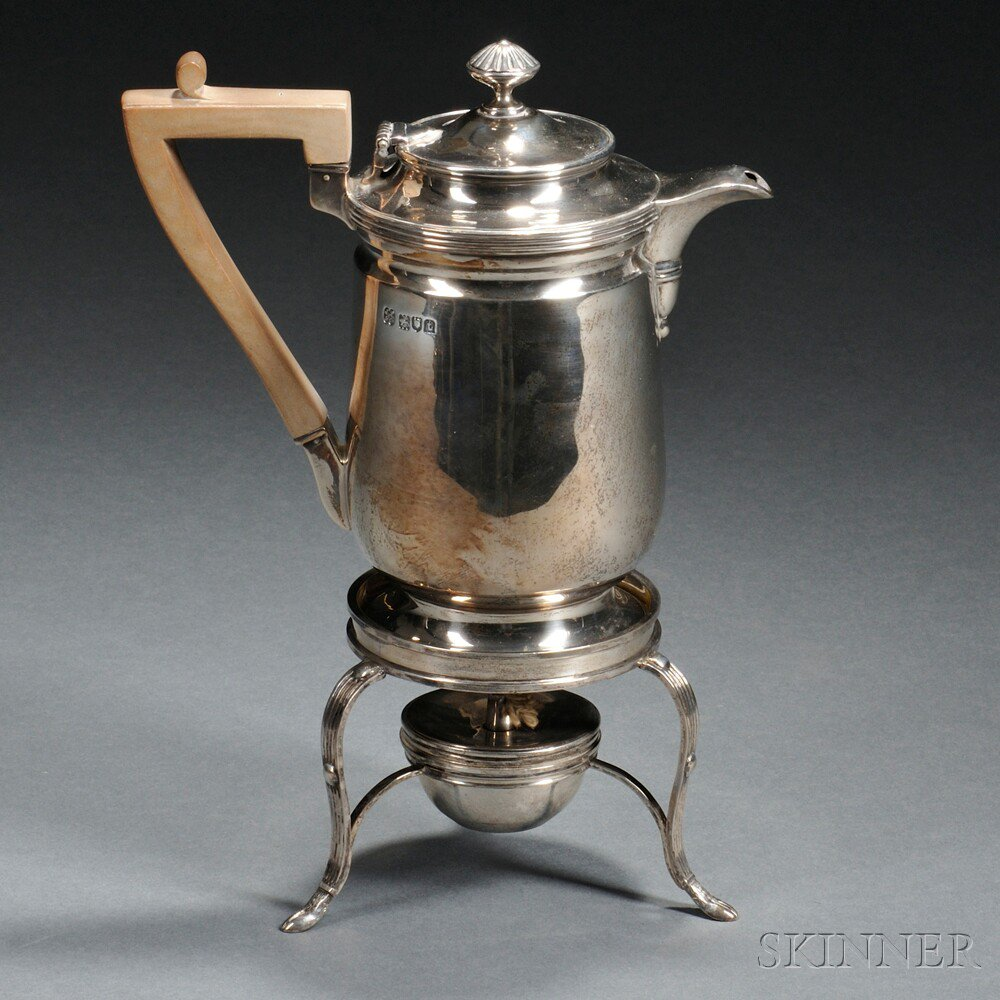 George V Sterling Silver Chocolate Pot on