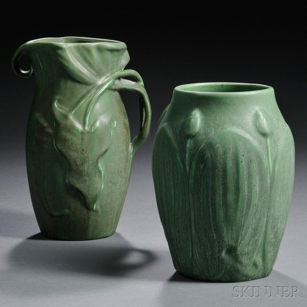 Two Hampshire Pottery Vases  Art pottery
