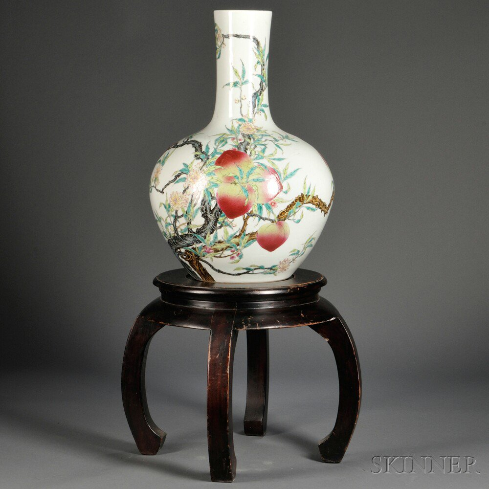 Price guide for large famille rose nine peaches vase china large famille rose nine peaches vase china tianqiuping shape depicting branches bearing flowers and peaches six character qianlong mark on base reviewsmspy