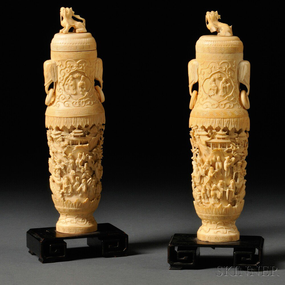Pair of Ivory Vases with Covers, China, 19th