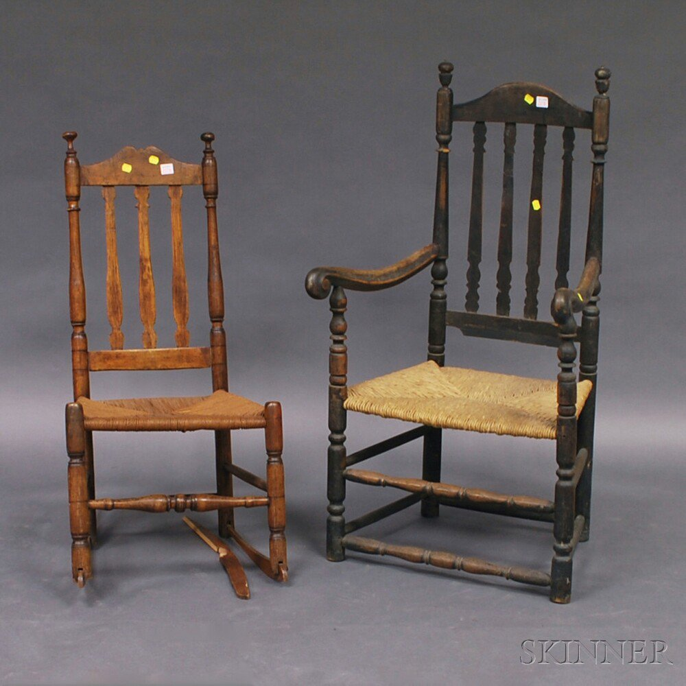 Two Bannister Back Chairs, a black-painted
