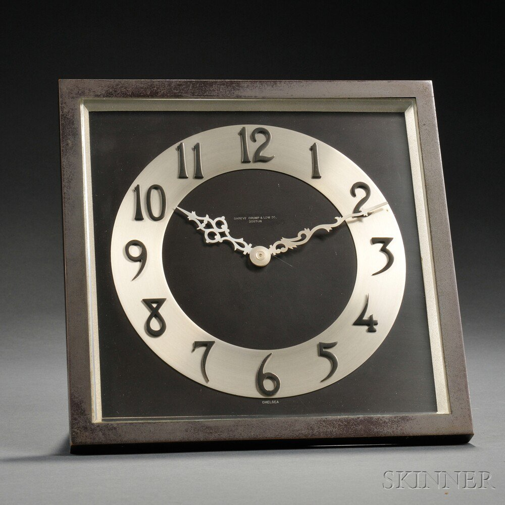 Bronze Chelsea Desk Clock Boston No 233562 For Shreve Crump Low Square Frame With Rear Swing Out Stand And Thick Beveled Glass Silvered