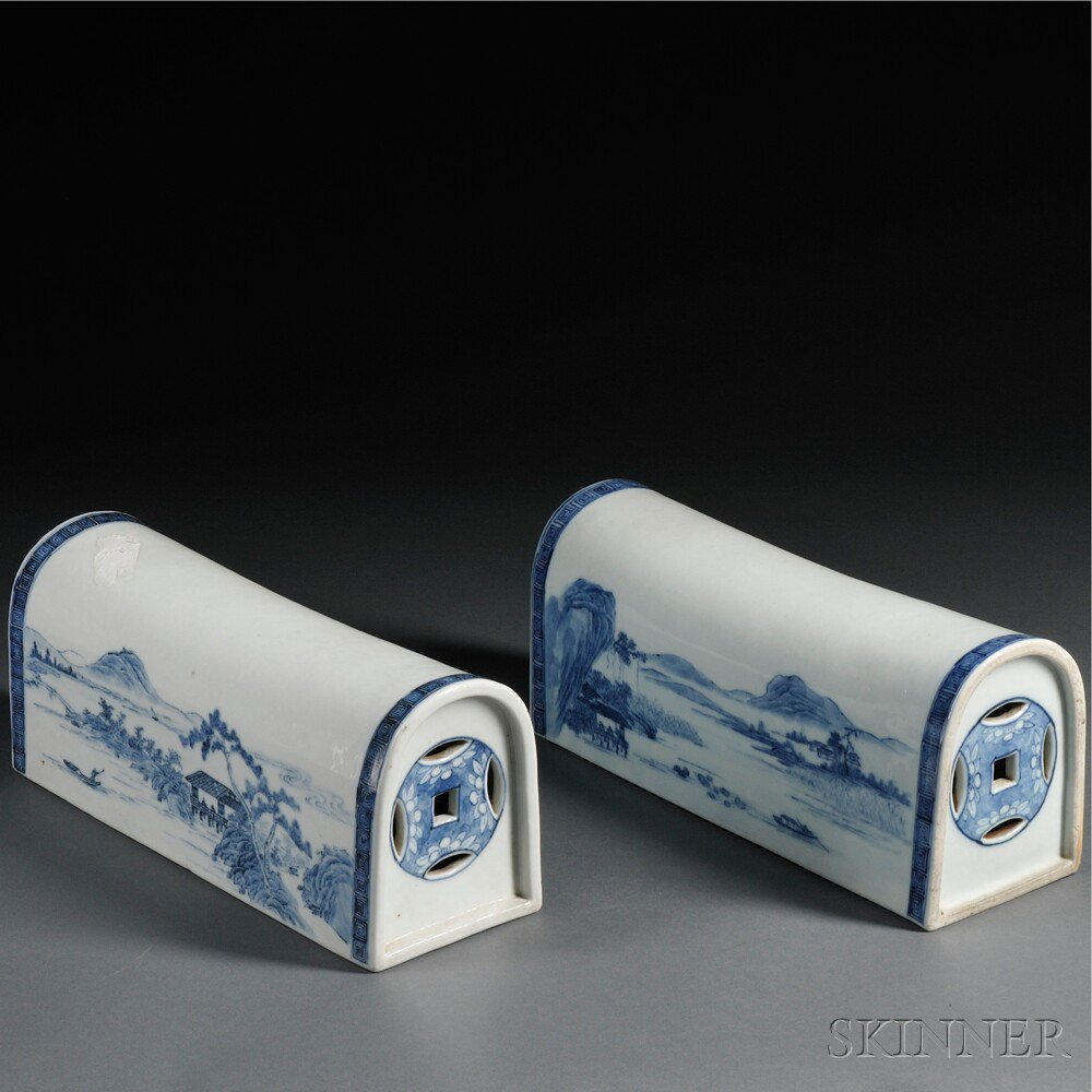 Pair of Blue and White Porcelain Pillows,
