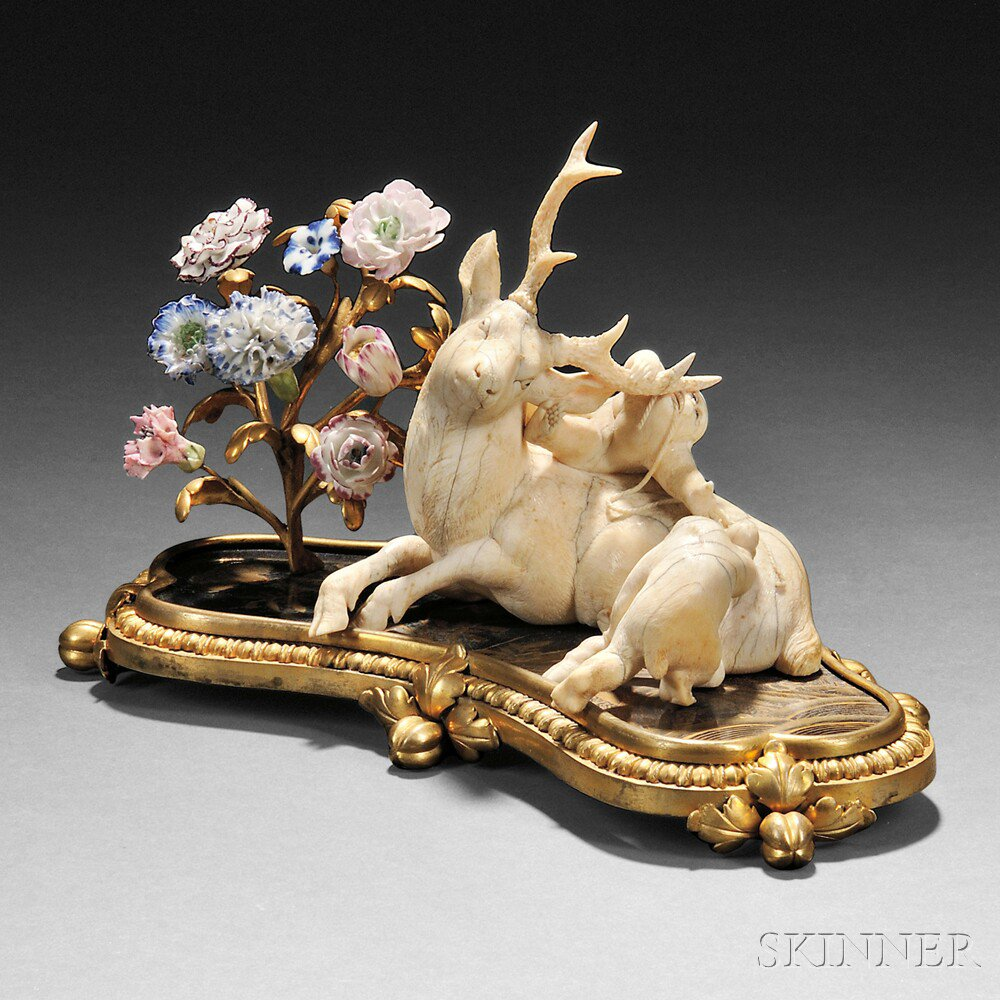 French Japonisme Ivory, Gilt-bronze, Lacquer