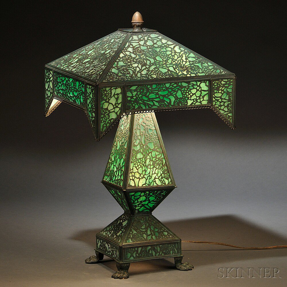Metal Overlay Table Lamp  United States,
