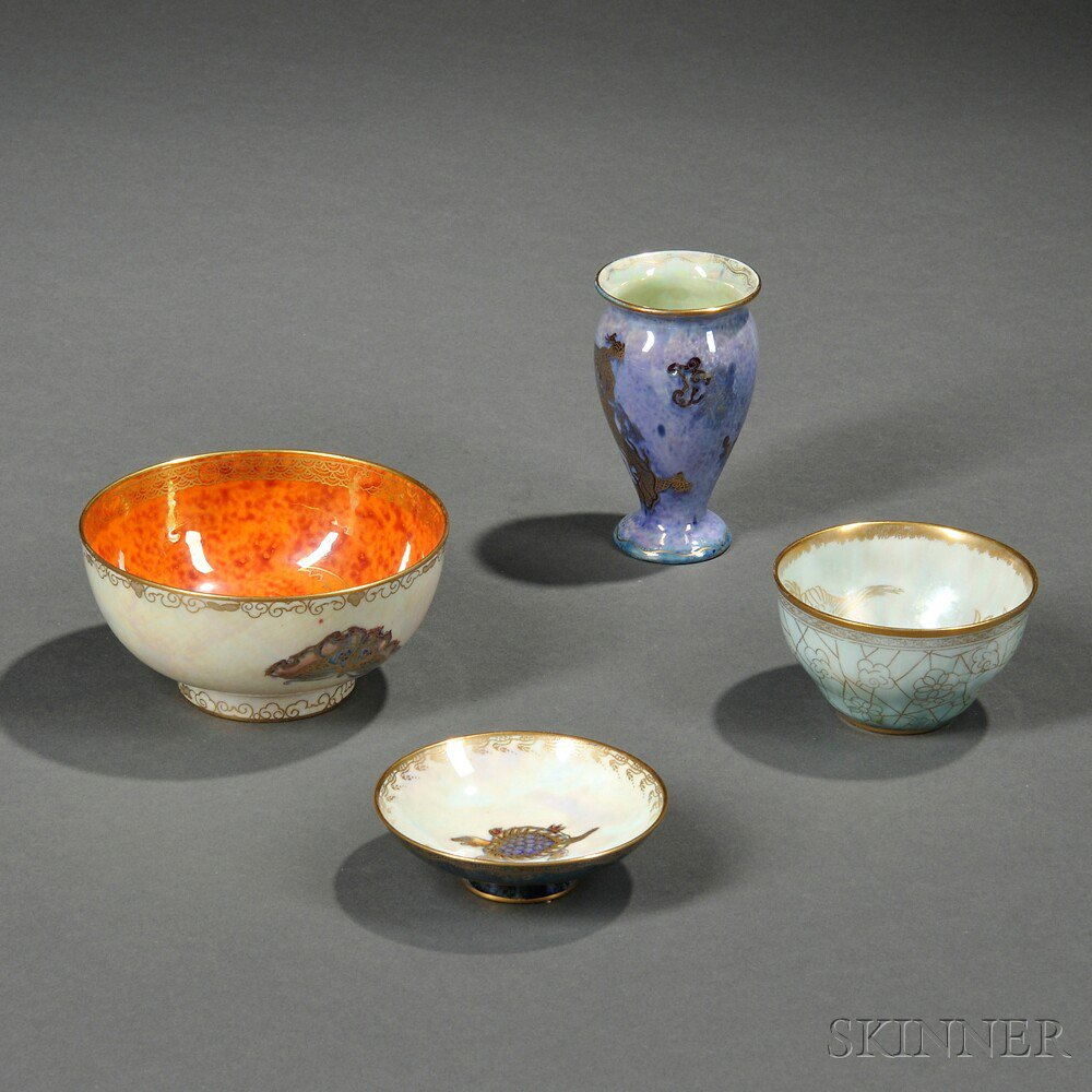 Four Wedgwood Lustre Items, England, c. 1920,