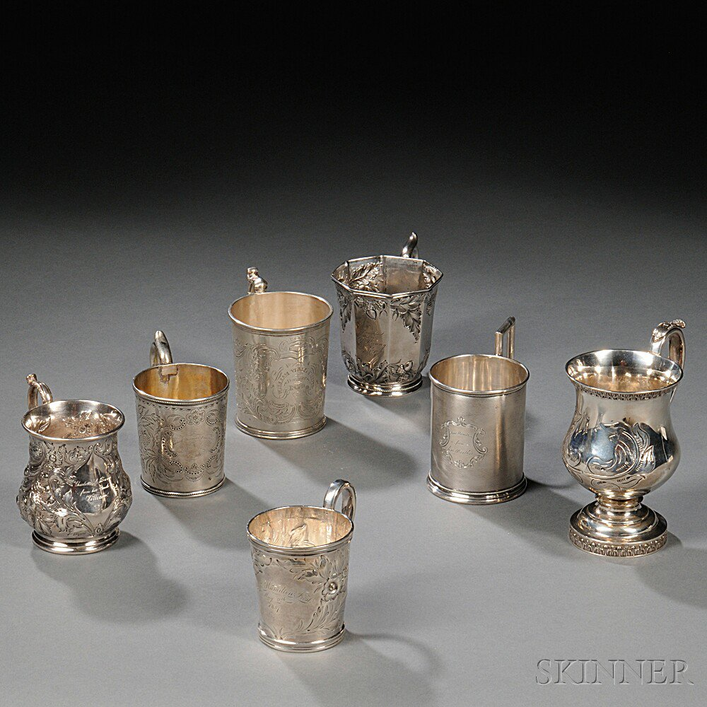 Seven American Coin Silver Mugs, mid-19th