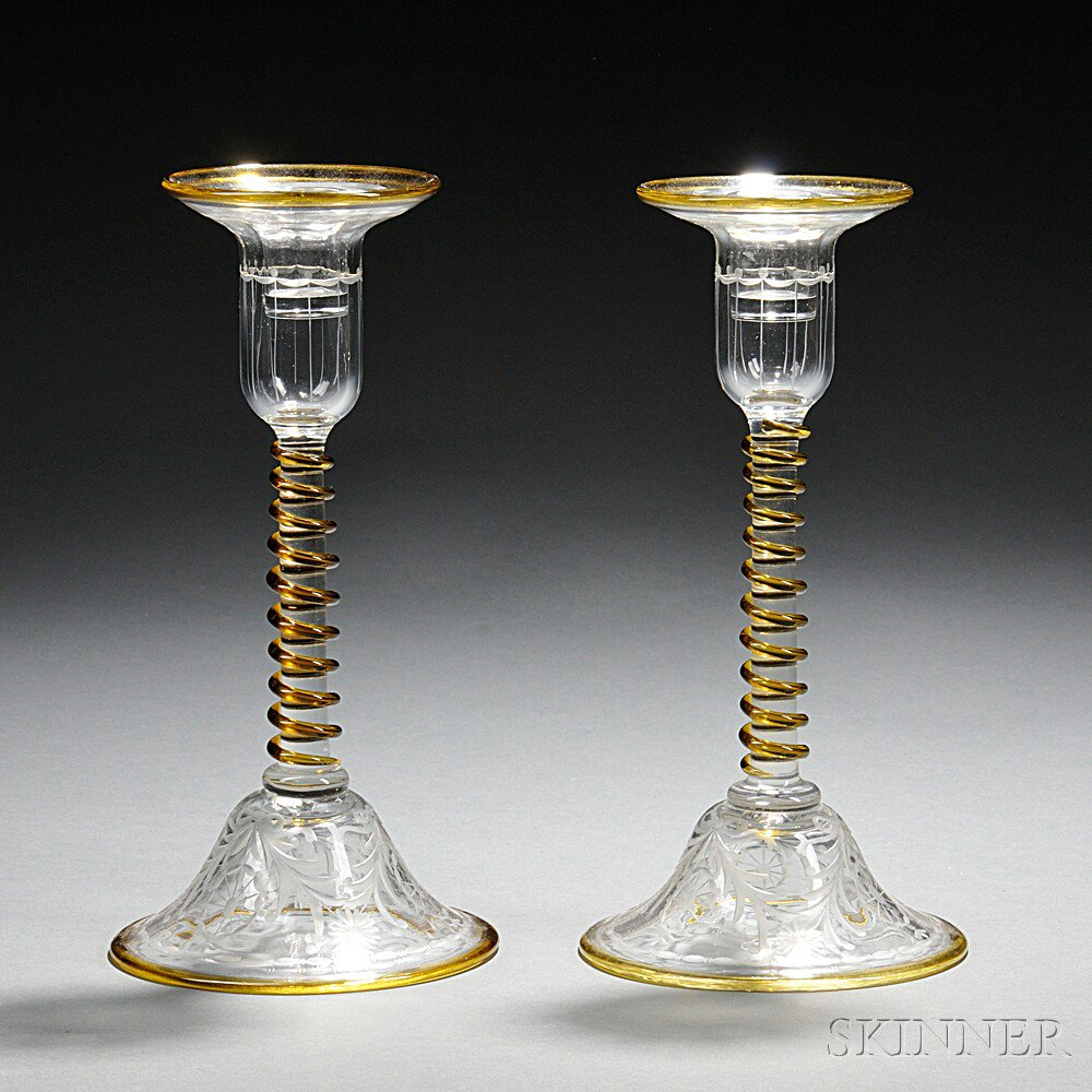 Pair of Pairpoint Glass No. 1624 Candlesticks