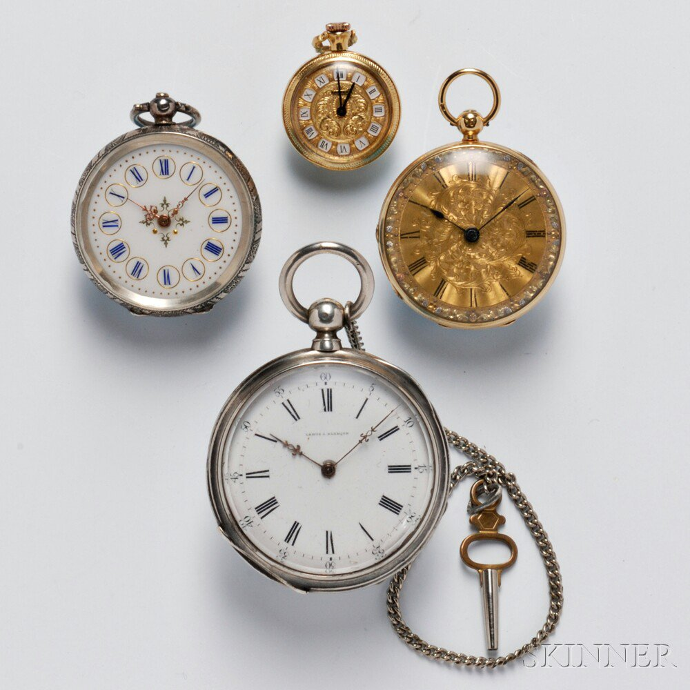 Four Open Face European Watches, England