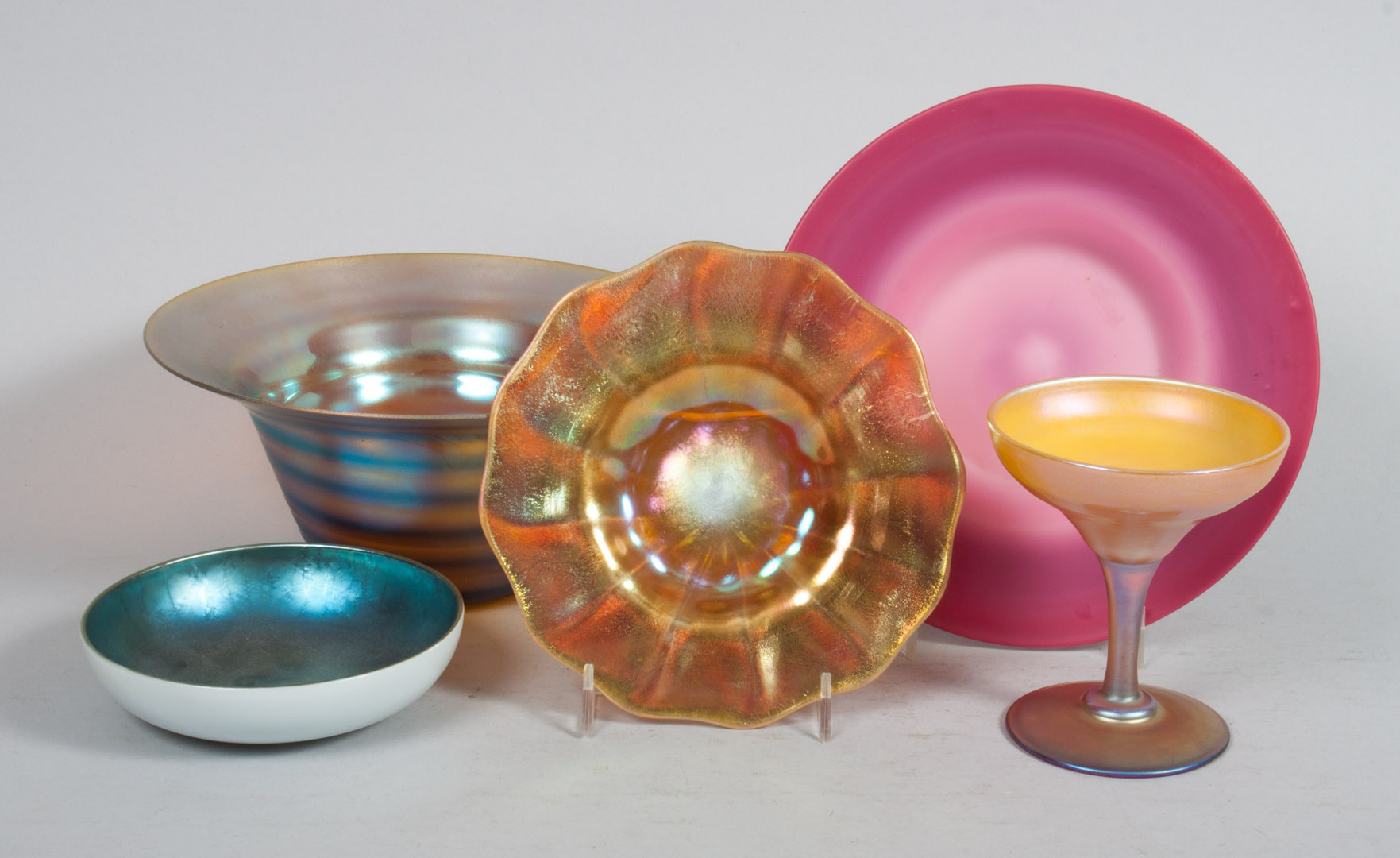 Five pieces of American opalescent art glass