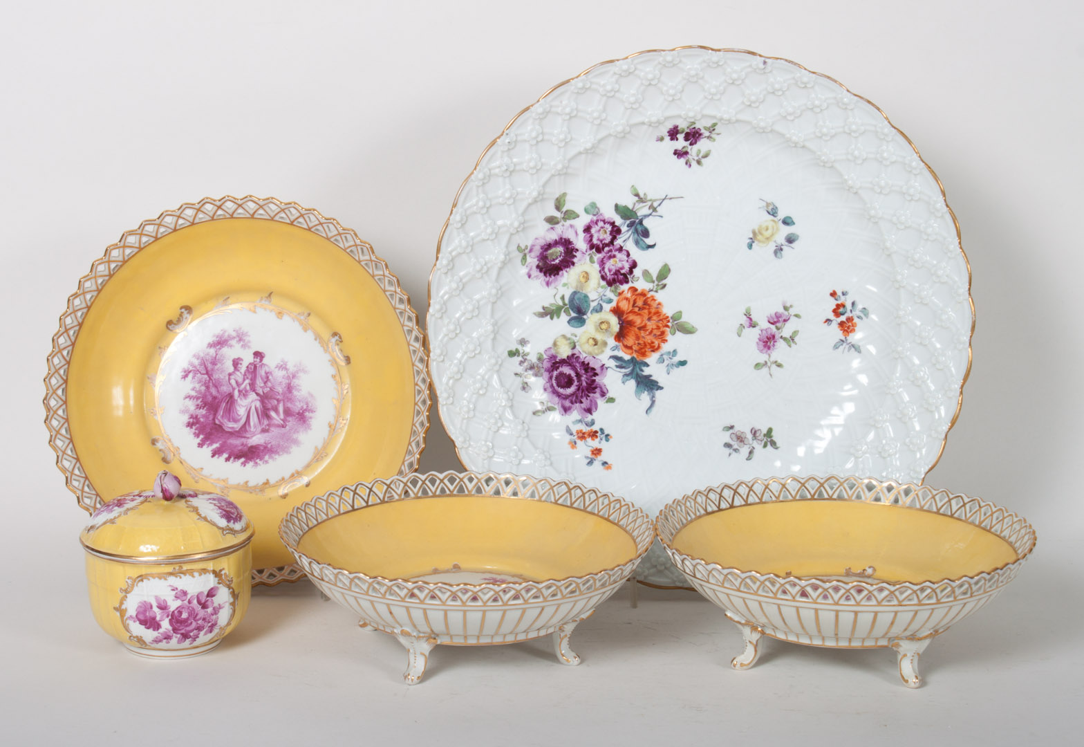 Three Dresden porcelain reticulated compotes