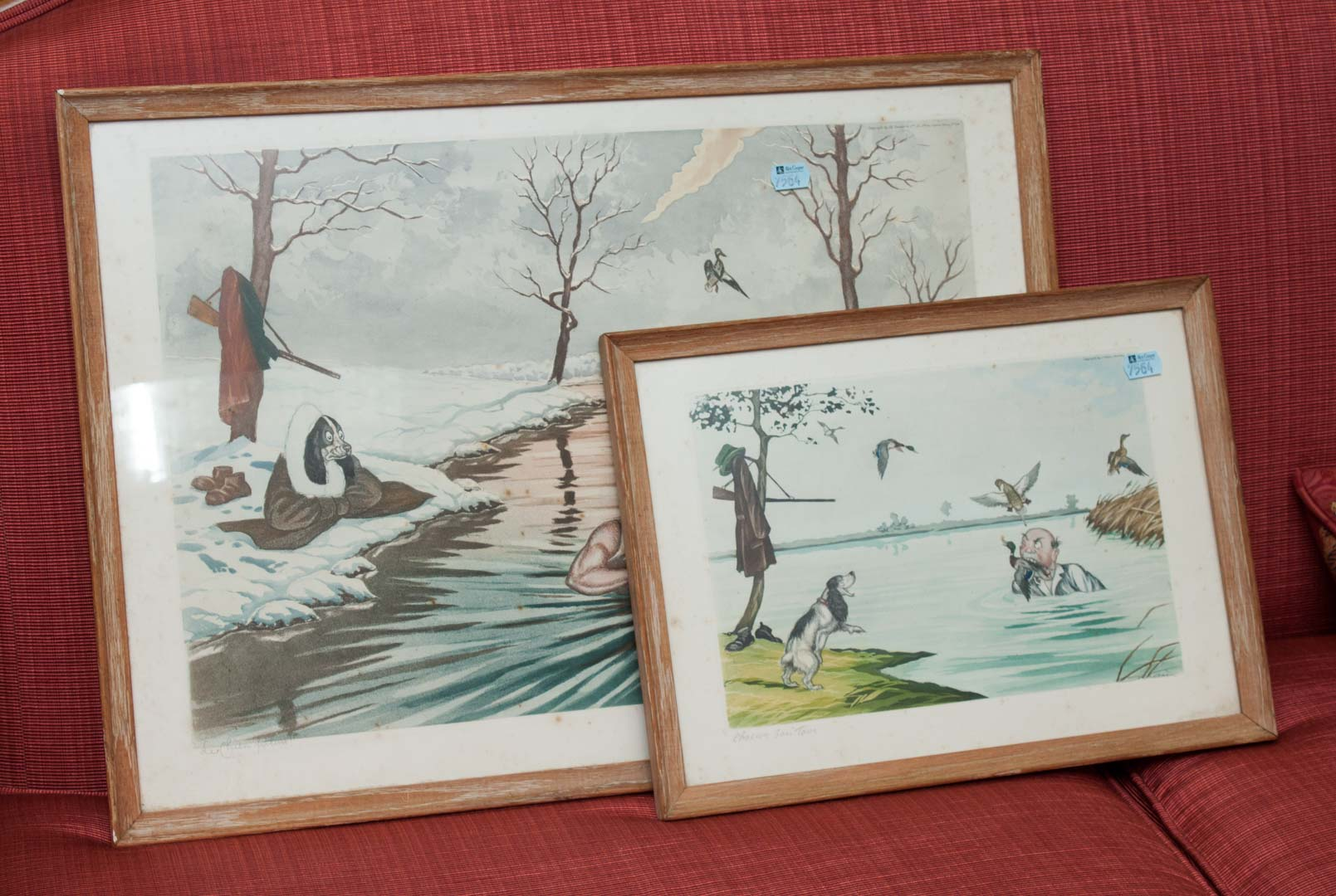 Price guide for Two framed prints of duck hunting by O\'Klein .