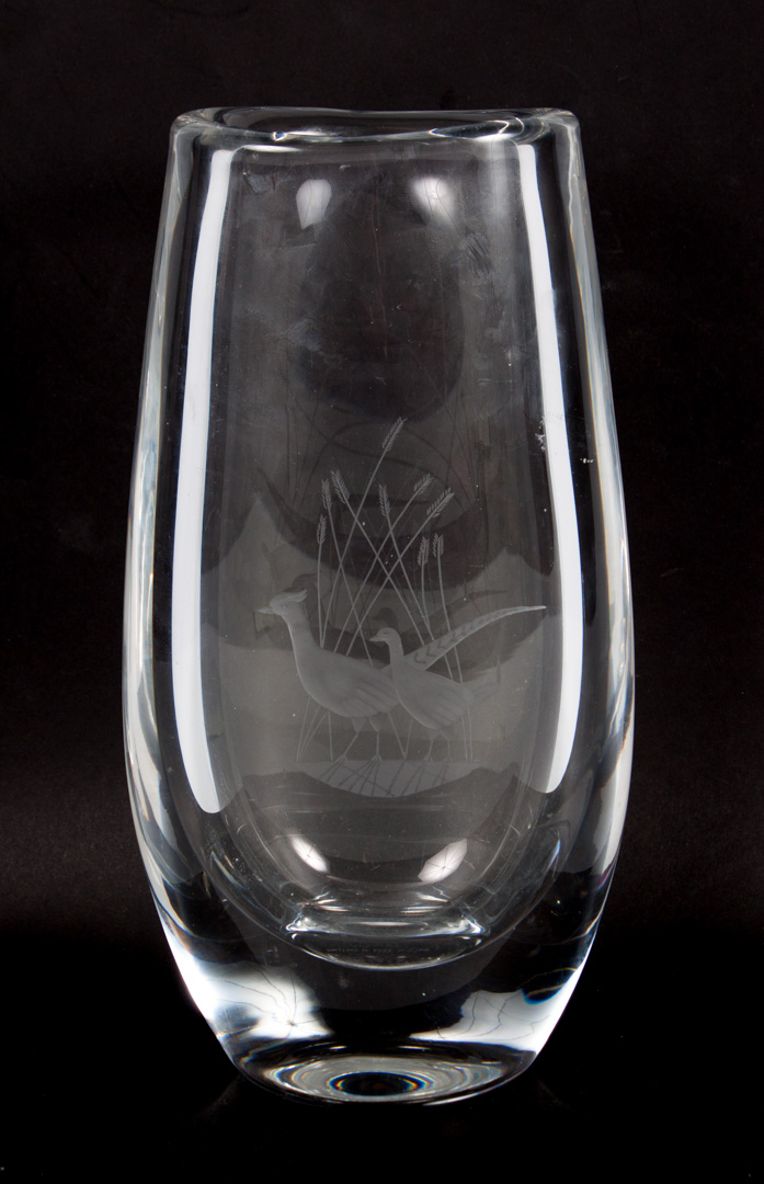 Price Guide For Orrefors Etched Glass Vase With Etched Pheasants
