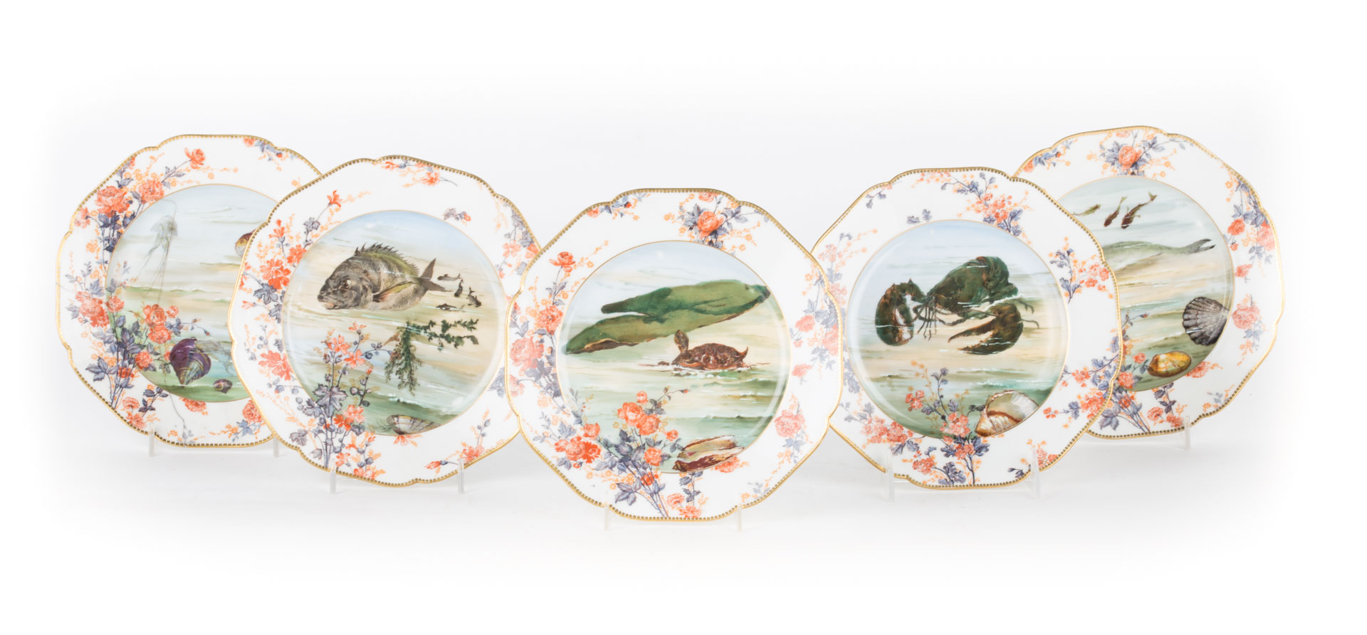 Limoges painted porcelain fish plates