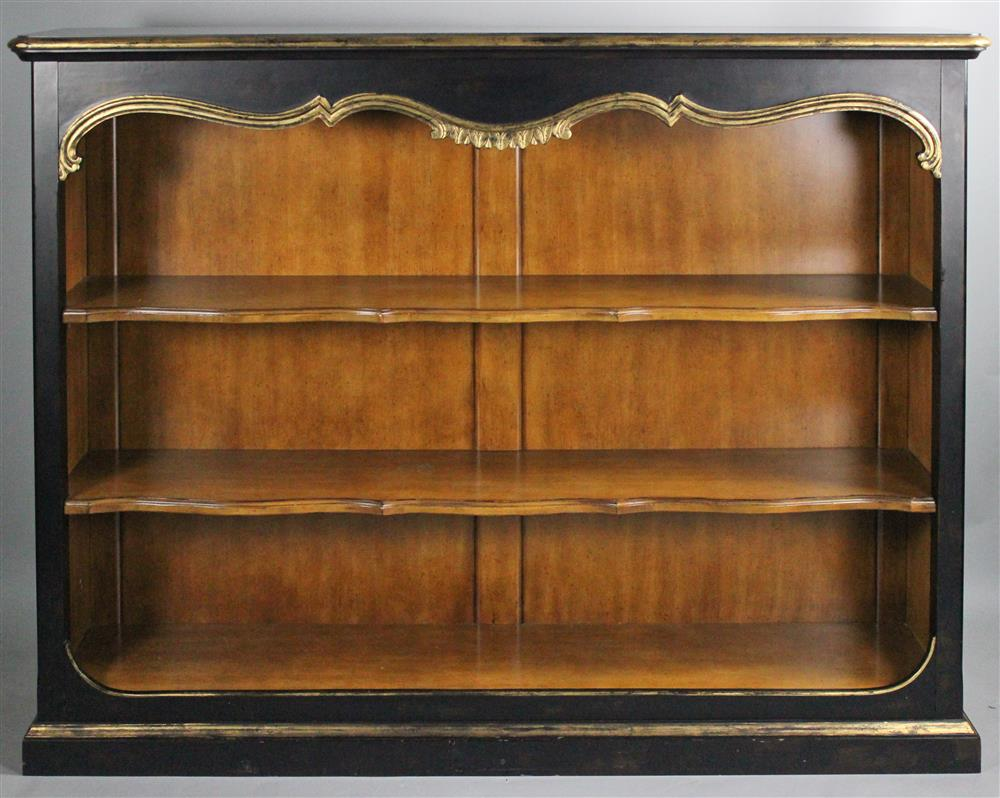 CENTURY FURNITURE CARVED AND EBONIZED BOOKCASE