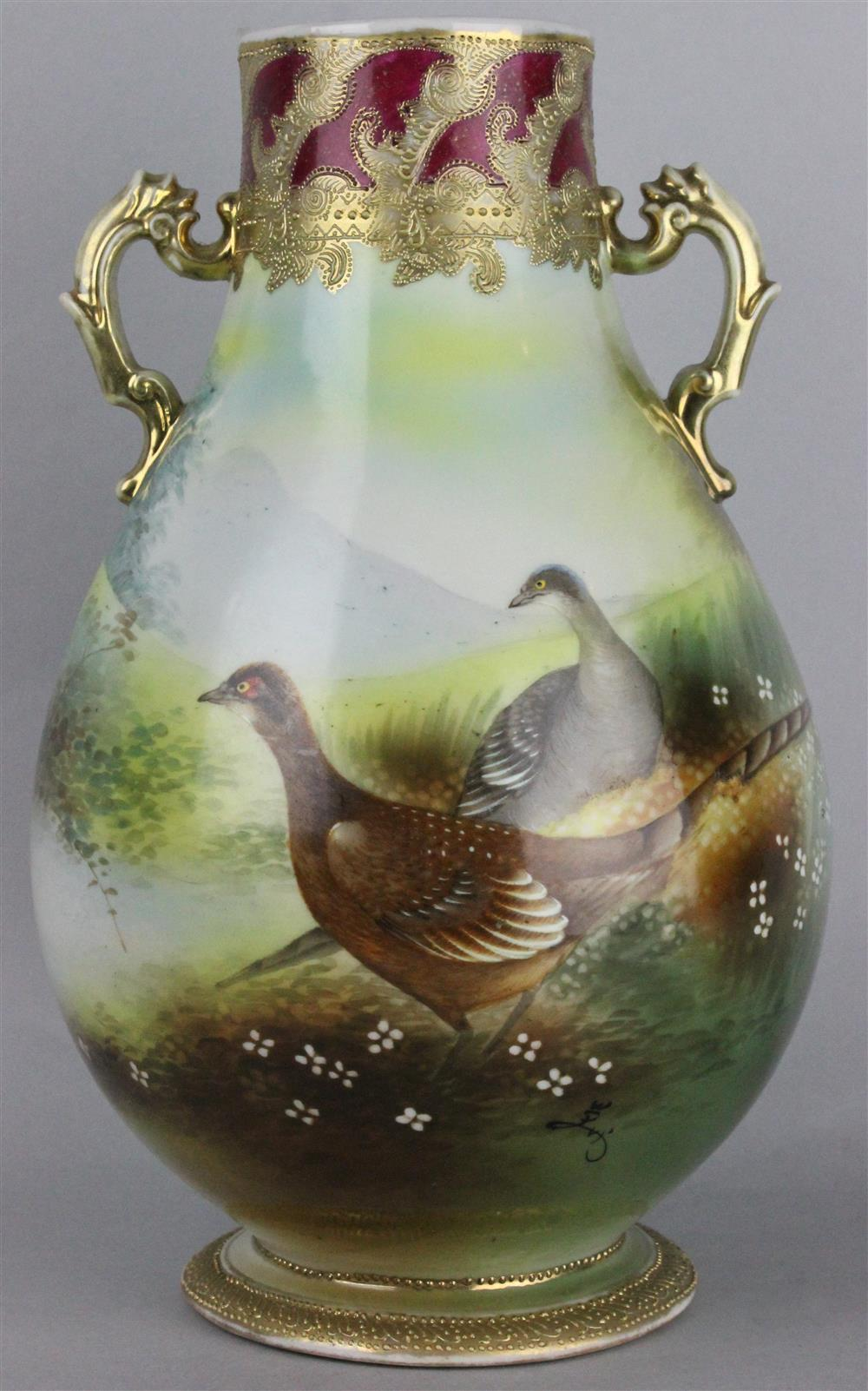 Price guide for nippon hand painted vase with birds marked nippon hand painted vase with birds marked on base and painted with a pair of birds amidst white flowers in a mountain landscape h13 w8 in reviewsmspy