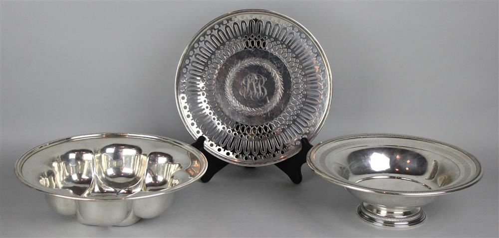 THREE PIECES OF AMERICAN SILVER TABLE WARES