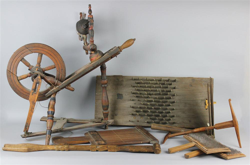 FLAX SPINNING WHEEL AND A COLLECTION OF TEXTILE
