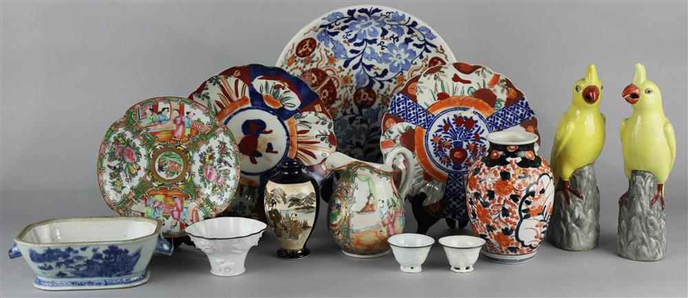 THIRTEEN ASSORTED ASIAN CERAMIC OBJECTS including