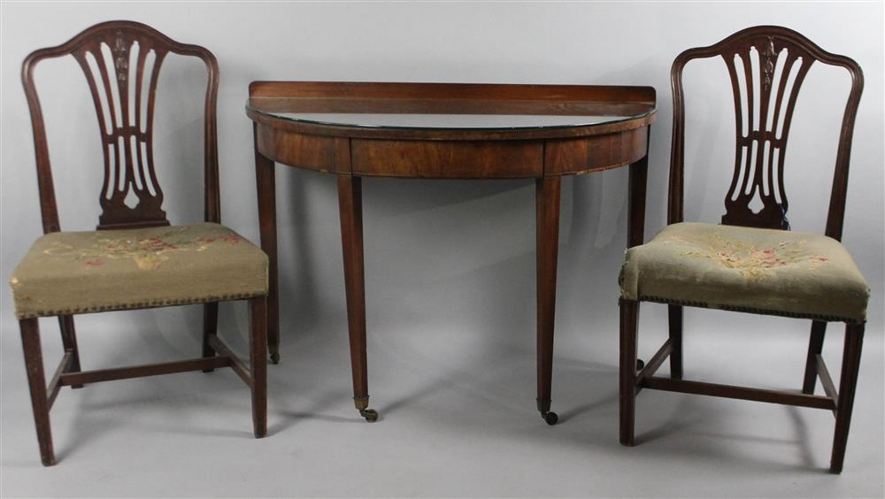 PAIR OF HEPPLEWHITE STYLE MAHOGANY SIDE CHAIRS