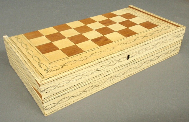 - Inlaid bone and wood game board, 19th