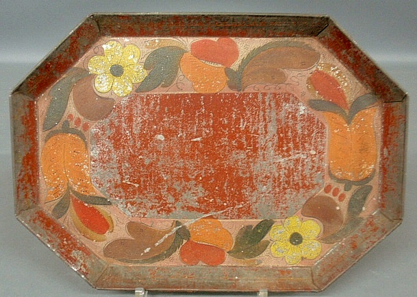- Early Tole bread tray, 19th c., with tulip