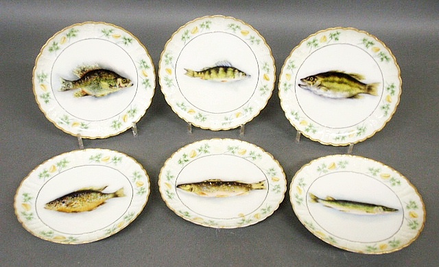 - Six Limoges, France fish plates, each