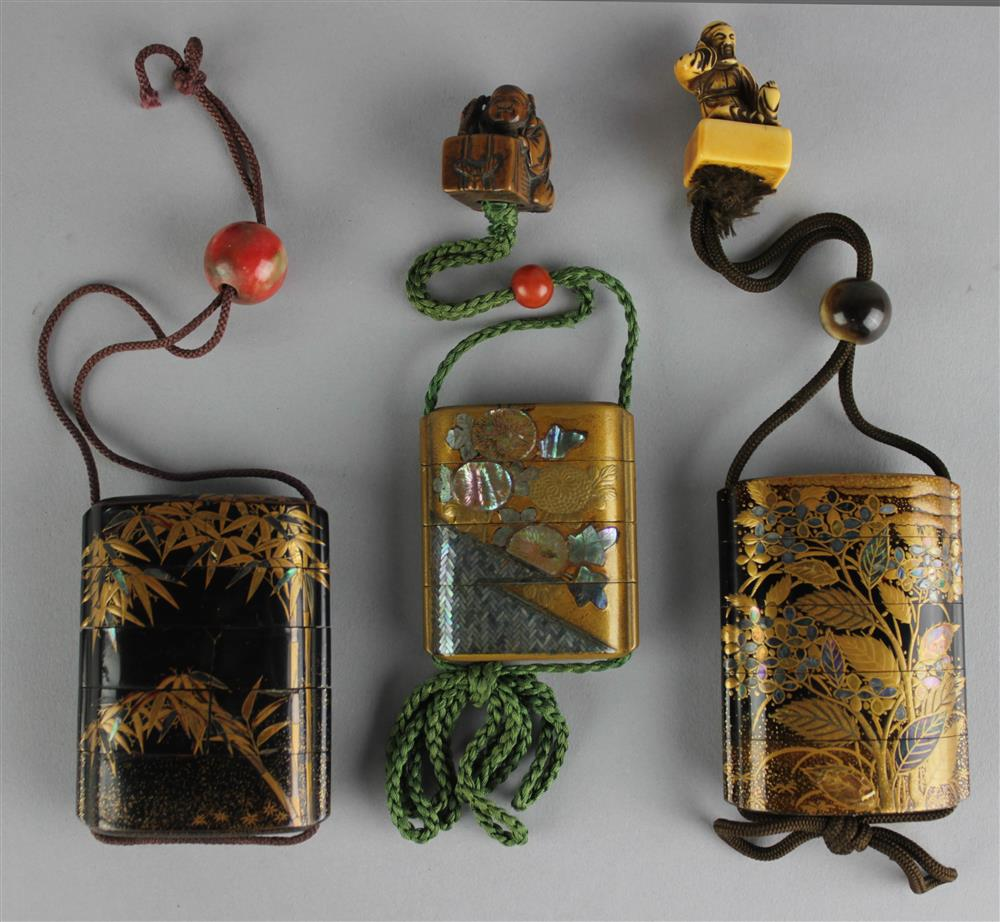 THREE JAPANESE LACQUER INRO, 19TH C. the