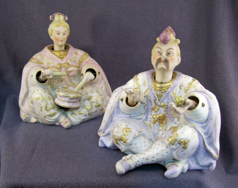 Pair Porcelain Oriental Nodders Pair of hand