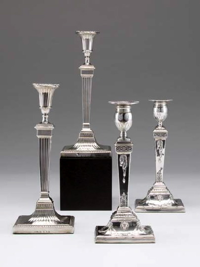 Pair of George III Sterling Silver Candlesticks,