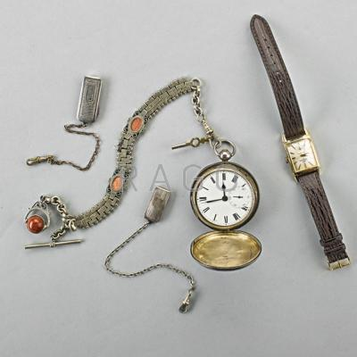 TWO TIMEPIECES AND THREE WATCH ACCESSORIES;