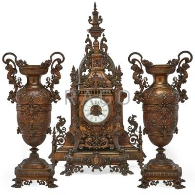 FRENCH CLOCK SET; Two metal vases and mantle