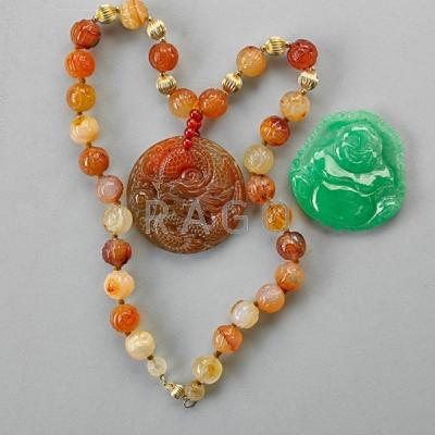 ASIAN CARVED HARDSTONE JEWELRY; Nephrite