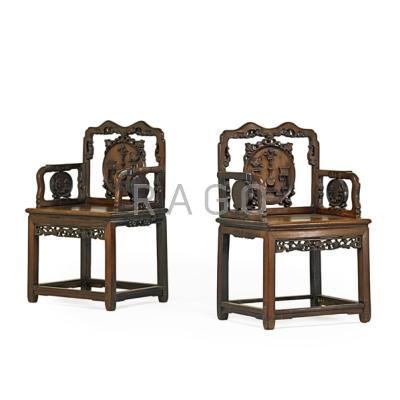 PAIR OF CHINESE ARM CHAIRS; Teak with carved