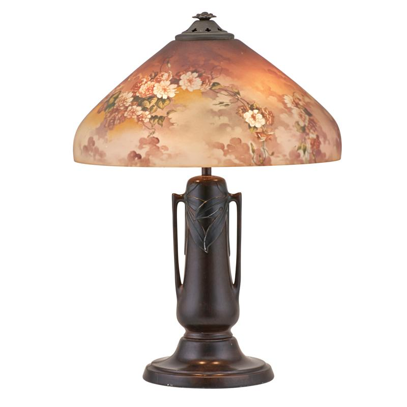JEFFERSON REVERSE PAINTED TABLE LAMP (Attr.) Glass