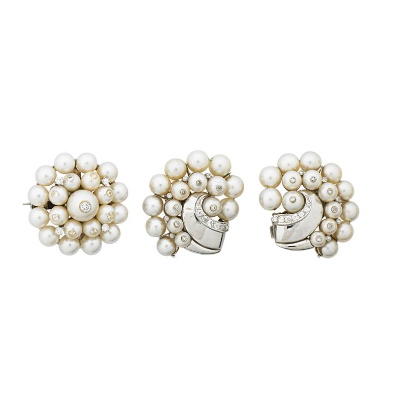 RETRO PEARL AND DIAMOND WHITE GOLD SUITE Pair