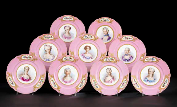Nine-Piece French Rose Pompadour Porcelain