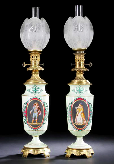 Tall And Stately Pair of Napoleon III Gilt-Lacquered